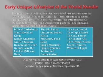 Info Reading Text - Ancient Civilizations: Unique Lifestyles (no prep/sub plans)