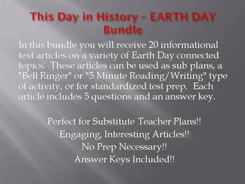 Info Reading Text - Earth Day Bundle (no prep/sub plans)