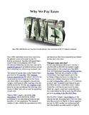 Info Reading Text - Economics: Why we pay taxes (no prep/sub plans)