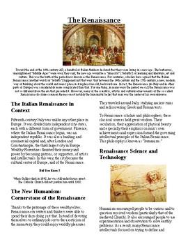 Info Reading Text - European History: The Italian Renaissance (no prep/sub plan)