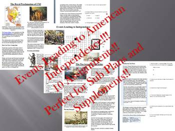 Info Reading Text - Events Leading to American Independence (no prep/sub plans)