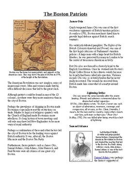 Info Reading Text - Events Leading to Independence: Boston's Patriots (no prep)
