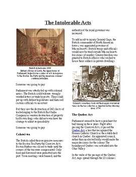 Info Reading Text - Events Leading to Independence: Intolerable Acts (no prep)