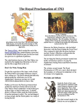 Info Reading Text - Events Leading to Independence: Proclamation of 1763