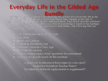 Info Reading Text - Everyday Life in the Gilded Age Bundle (no prep/sub plans)