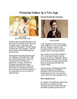 Info Reading Text - Everyday Life in the Gilded Age: Victorian Values (no prep)