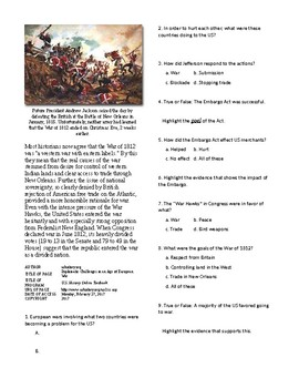 Info Reading Text - Expansion and War 1812: Challenges of Euro Wars (no prep)