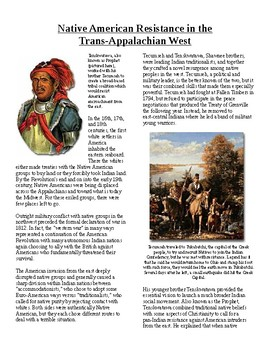 Info Reading Text - Expansion and War 1812: Native American Resistance (no prep)