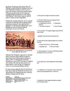 Info Reading Text - Expansion and War 1812: Second War of Independence (no prep)