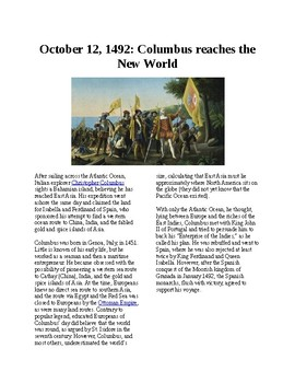 Info Reading Text - Exploration: Columbus Discovers America