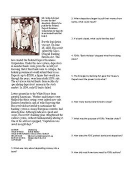 Info Reading Text - FDR's New Deal: A Bank Holiday (no prep/sub plans)