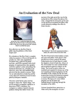 Info Reading Text - FDR's New Deal: An Evaluation of the New Deal (no prep/sub)