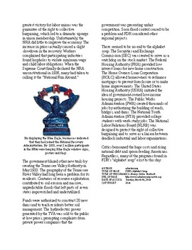 Info Reading Text - FDR's New Deal: FDR's Alphabet Soup (no prep/sub plans)