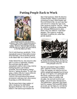 Info Reading Text - FDR's New Deal: Putting People Back to Work (no prep/sub)
