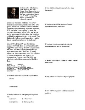 Info Reading Text - FDR's New Deal: Roosevelt's Critics (no prep/sub plans)