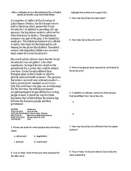 Info Reading Text - FDR's New Deal: Social Security (no prep/sub plans)