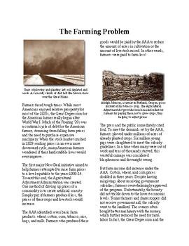 Info Reading Text - FDR's New Deal: The Farming Problem (no prep/sub plans)