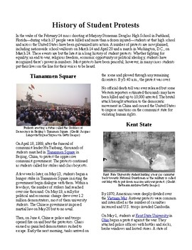 Info Reading Text - First Amendment Rights: History of Student Protests