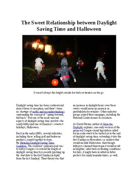 Info Reading Text - Government Lobbying: Daylight Savings and Halloween (no prep