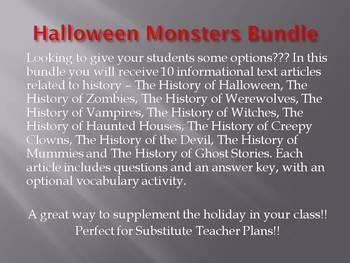 Info Reading Text - Halloween: Halloween Monsters Bundle SAVE OVER $10!