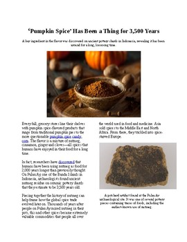 Info Reading Text - Halloween: Pumpkin Spice has been around for 3500 years!