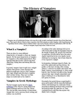 Info Reading Text - Halloween: The History of Vampires (no prep/sub plans)