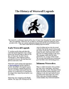 Info Reading Text - Halloween: The History of Werewolf Legends (no prep/sub plan