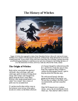 Info Reading Text - Halloween: The History of Witches (no prep/sub plans)