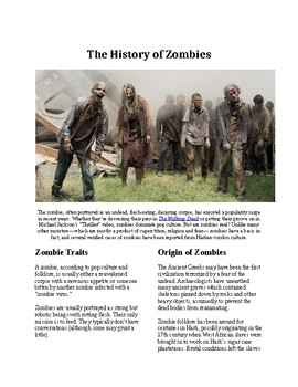 Info Reading Text - Halloween: The History of Zombies (no prep/sub plan)