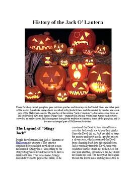 Info Reading Text - Halloween: The History of the Jack-O-Lantern (no prep/sub)