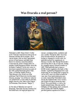 Info Reading Text - Halloween: Was Dracula a real person? (no prep/sub plans)