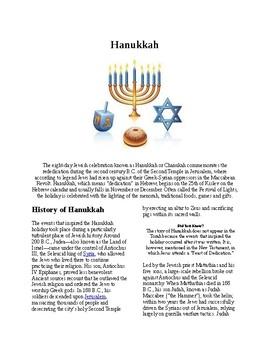 Info Reading Text - Hanukkah (no prep/sub plans)