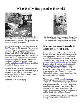 Info Reading Text - History Mystery/Psychology: What Really Happened at Roswell?