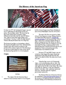 Info Reading Text - History of the American Flag (no prep/sub plans)