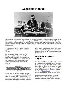 Info Reading Text - Inventions: Guglielmo Marconi (no prep/sub plans)