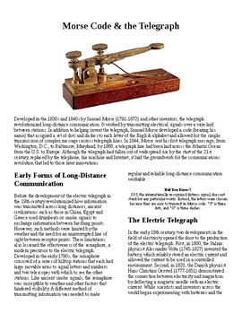 Info Reading Text - Inventions: Morse Code and the Telegraph (no prep/sub plans)