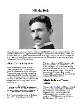 Info Reading Text - Inventions: Nicola Tesla (no prep/sub plans)