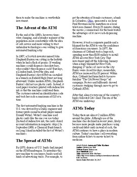 Info Reading Text - Inventions: The ATM (no prep/sub plans)