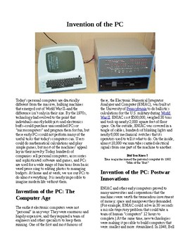Info Reading Text - Inventions: The Invention of the PC (no prep/sub plans)