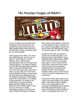 Info Reading Text - Inventions: The Wartime Origins of M&M's (no prep/sub plan)