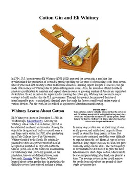 Info Reading Text - Inventions: Whitney's Cotton Gin (no prep/sub plans)