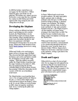 Info Reading Text - Inventions: Wright Brothers Fly (no prep/sub plans)