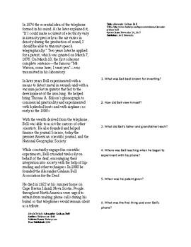 Info Reading Text - Inventors: Alexander Graham Bell (no prep/sub plan)