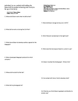 Info Reading Text - Inventors: Thomas Edison (no prep/sub plan)