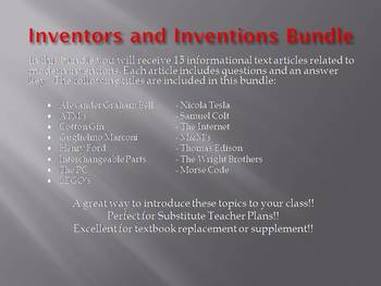 Info Reading Text - Inventors and Inventions Bundle Save $7.50 (no prep/sub)