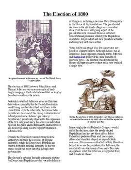 Info Reading Text - Jeffersonian America: Election of 1800 (no prep/sub plan)