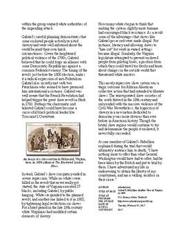 Info Reading Text - Jeffersonian America: Gabriel's Slave Rebellion (no prep)