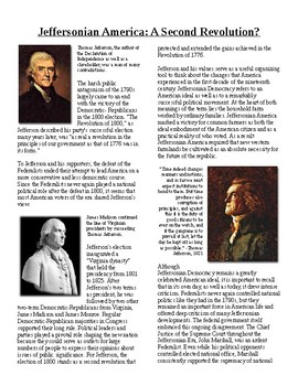 Info Reading Text - Jeffersonian America (no prep/sub plans)