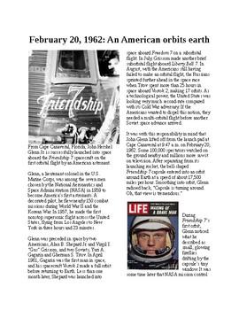Info Reading Text - John Glenn first American to orbit Earth (no prep/sub plan)