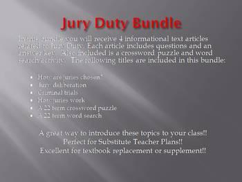 Info Reading Text - Jury Duty Bundle (no prep/sub plans)